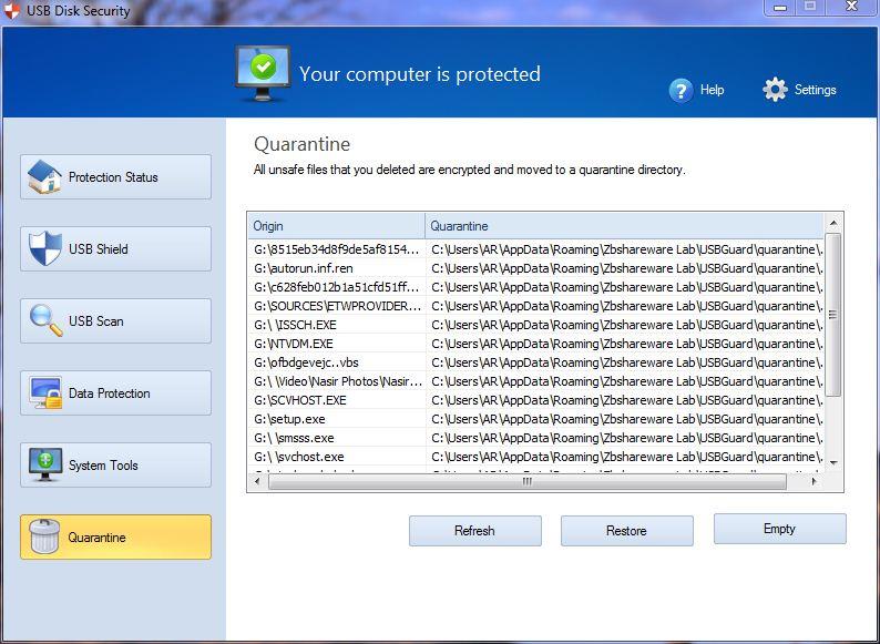 Quarantine USB Disk Security